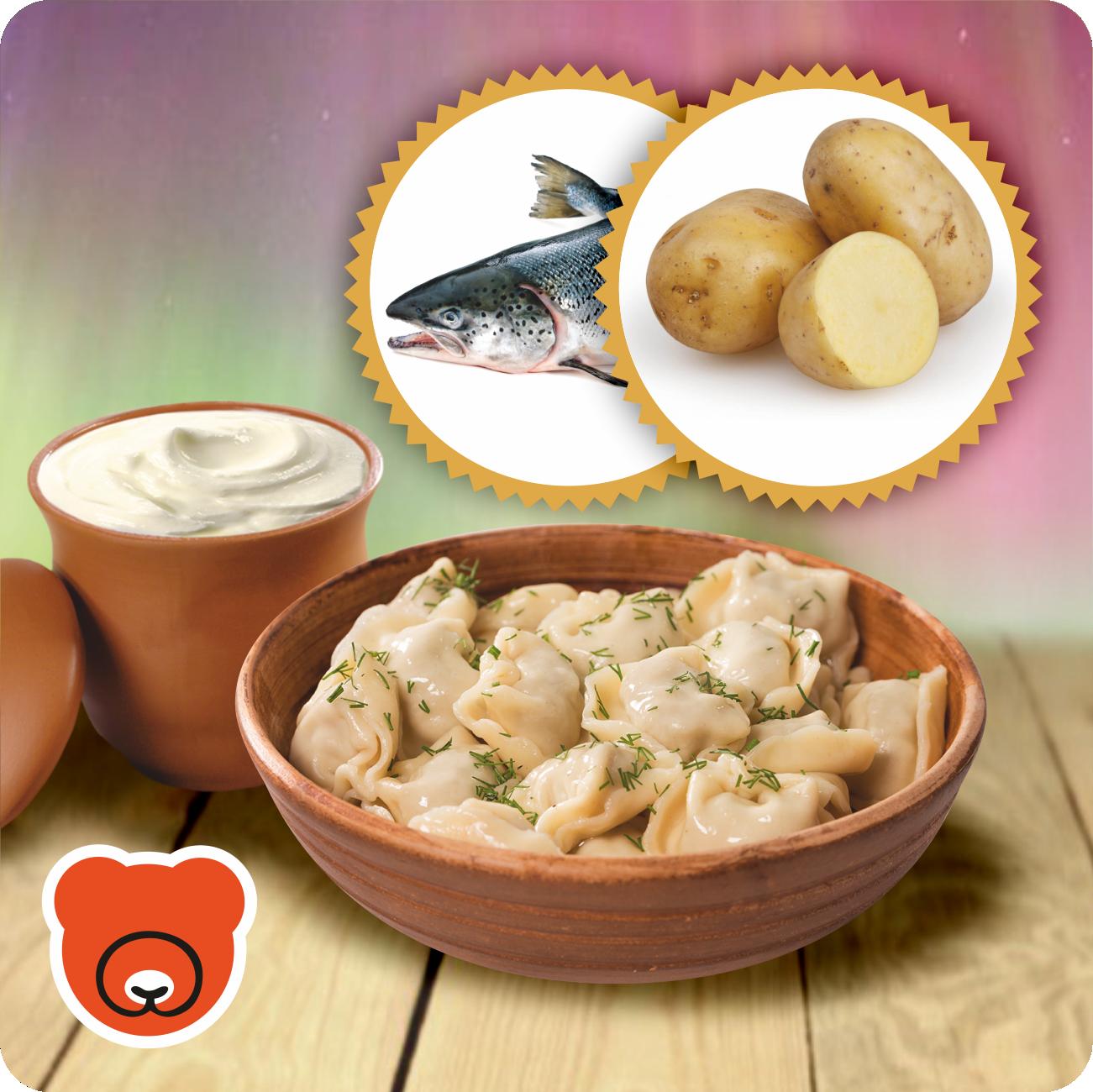 Wareniki mit Kartoffel und Lachs