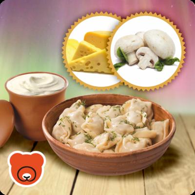 Wareniki mit Pilze und Käse
