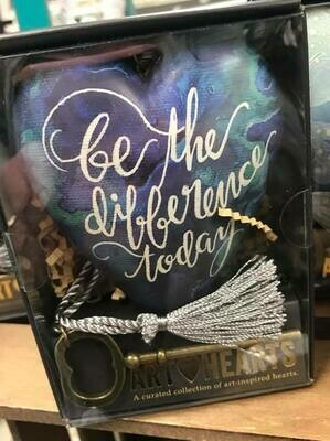 Home Decor/art heart/Be the difference saying/ art heart decor with skeleton key for displaying