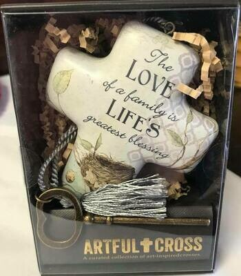 Home decor/cross/The love of a family saying/artful cross decor/ with skeleton key easel for displaying