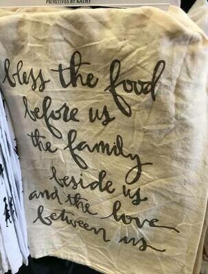 tea towel/bless the food before us