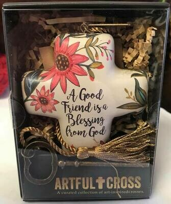 Home decor/cross/A good friend artful cross decor with skeleton easel for displaying