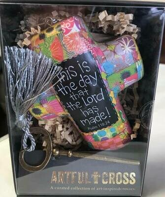 Home decor/cross/This is the day saying/ artful cross decor with skeleton key for displaying