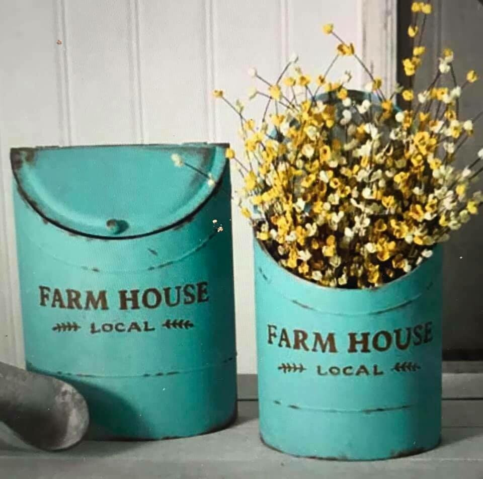 Home Decor/Turquoise Farm House containers/set of 2