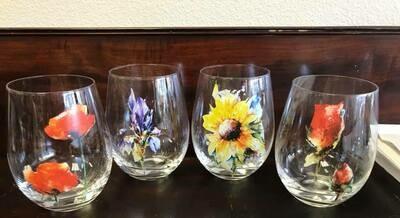 drinkware/wine glasses/flowers
