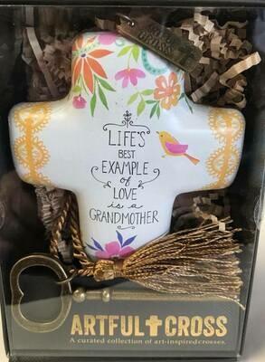 Home decor/cross/Artful cross decor/Grandmother saying with skeleton key for displaying