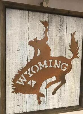 Home Decor/wall art/Wyoming metal on wood wall art/17x15