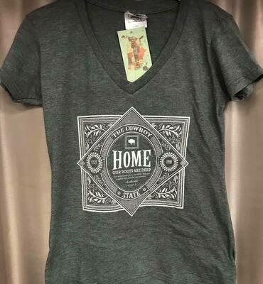 v-neck HOME/cowboy state tee/ sz. sm-xxl
