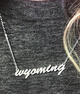 Jewelry/Made of Mountains/Wyoming script/silver