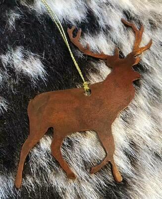 Wyoming made/Rustic metal elk ornament