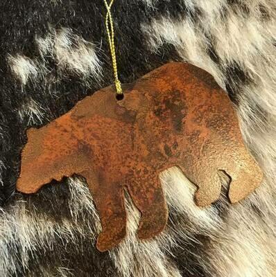 Wyoming made/Rustic bear metal ornament