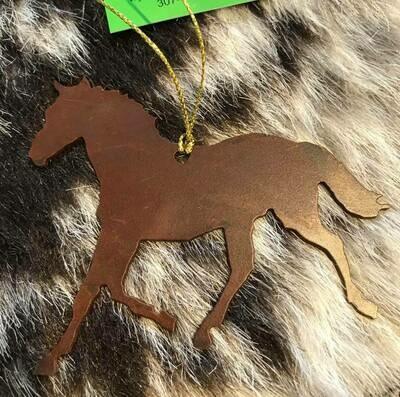 Wyoming made/Rustic metal horse ornament
