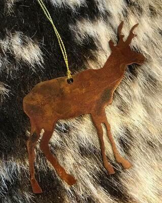Wyoming made/Rustic metal antelope ornament