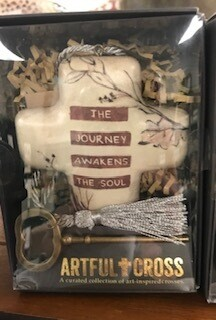Home decor/cross/The Journey awakens the soul art cross with skeleton key for displaying