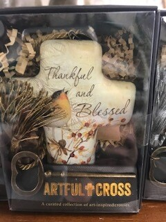 Home decor/cross/Thankful & Blessed art cross with skeleton key for display