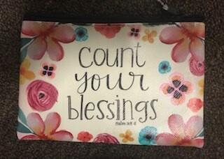 zipper pouch/vinyl/count your blessings saying