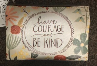 zipper pouch/vinyl/have courage saying