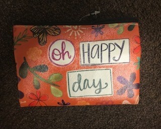 zipper pouch/vinyl/Oh Happy Day saying
