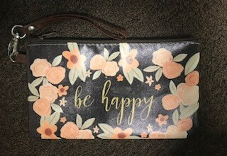 zipper pouch/large/vinyl/ be happy saying