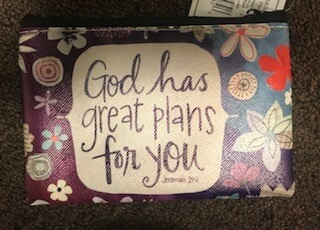 zipper pouch/vinyl/God has great plans saying