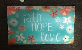 zipper pouches/large/faith,hope,love saying/vinyl