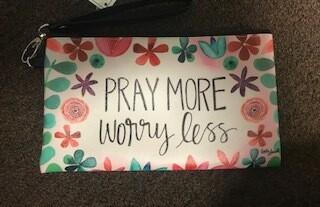 zipper pouch/large/vinyl/pray more saying