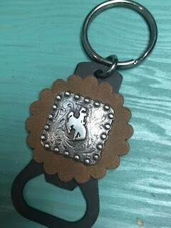 Keychain with Wyoming steamboat concho on tan leather