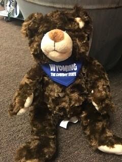 Wyoming Souvenir/Brown Bear stuffier with Wyoming bandana