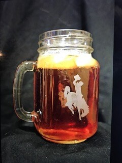 Drinkware/Mason jar glass with etched Wyoming steamboat