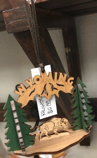 Wyoming souvenir/Wooden Wyoming/Buffalo Ornament