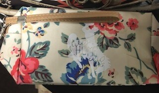 Zipper pouch/makeup bag/white w/floral design/Wyhomeing/Steamboat