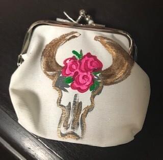 Coin purse/handpainted/skull