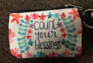 coin, ID purse and key chain/count your blessings