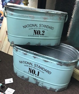 Home Decor/Two aqua metal containers/2 sizes/set of 2/farmhouse/distressed