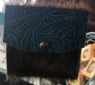 coin purse/key chain/black leather/hair on/ hand made