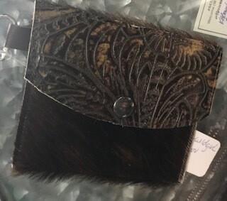 Coin purse/keychain/handmade/leather & hair on