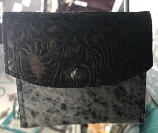 Coin purse/key chain/handmade/leather/hair on