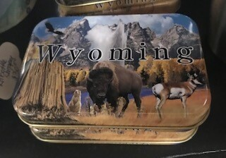Wyoming playing cards in a tin