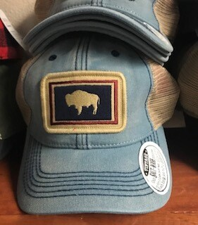 Hat/Wyoming flag/denim/trucker style