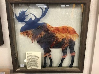 Home decor/wall art/Moose glass/13x13