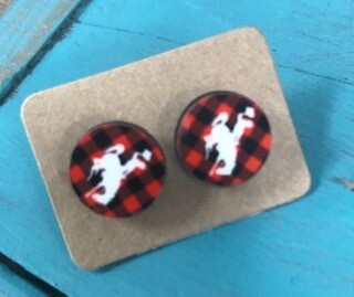 Earring stud/Wyoming steamboat/buffalo plaid