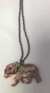 Necklace/mama bear/copper