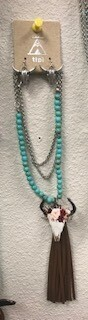 necklace/steerhead/turq beads/tassel