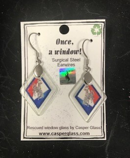 Casper Glass/Earring/Casper Glass/Recycled glass/red,white,blue steamboat, made in Wyoming