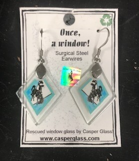 Casper Glass,Recycled glass, turquoise steamboat Earring, made in Wyoming