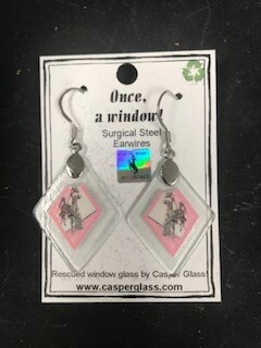 Casper Glass/Earring/Glass/Recycled/Made in Wyoming/Pink Steamboat