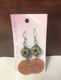 Earring/clay flower/copper/Wyo made