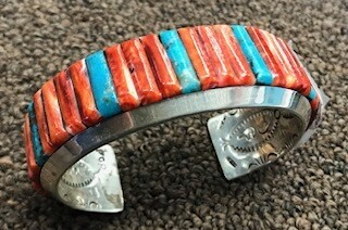 Authentic Navajo Jewelry/Bracelet/coral & turquoise/Zuni inlaid/signed