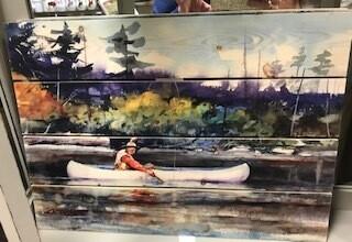 Home Decor/wall art/fisherman in canoe/20x14