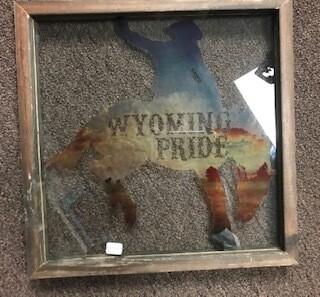 Home decor/wall art/Wyoming Pride bucking bronco glass wall art with wood frame/13x13